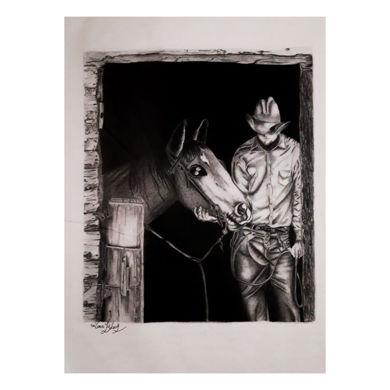 سایز:۳۳×۴۹  مقوا اشتنباخ  سیاه قلم