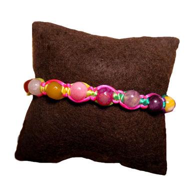 تصویر از دستبند بافت سنگی هفت رنگ، مدل O3، گروه دست سازه های طلایی