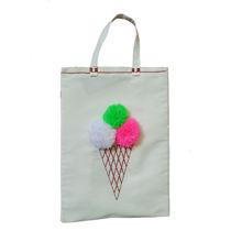 کیف خرید گلدوزی شده طرح بستنی😍سایز35.45cmاندازه دسته15cm