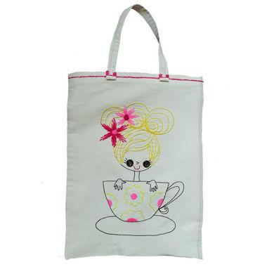 کیف خرید گلدوزی شده طرح فانتزی دخترونه😍سایز35.45cmاندازه دسته15cm