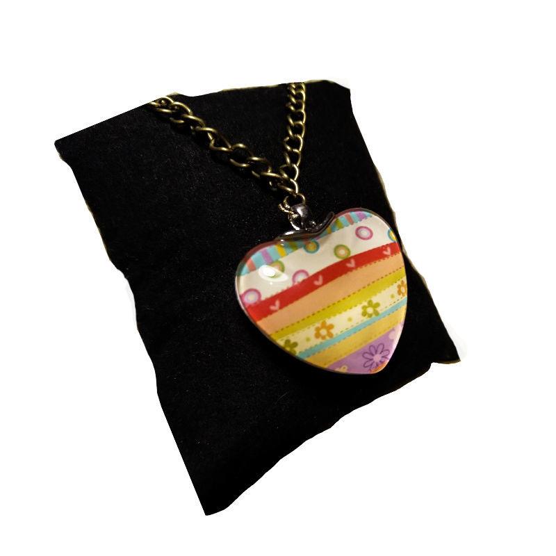 تصویر از گردنبند دو طرفه قلبی طرح قلب های رنگی، مدل E3، گروه دست سازه های طلایی