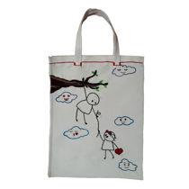 کیف خرید گلدوزی شده طرح عاشقانه فانتزی😍سایز35.45cmاندازه دسته15cm