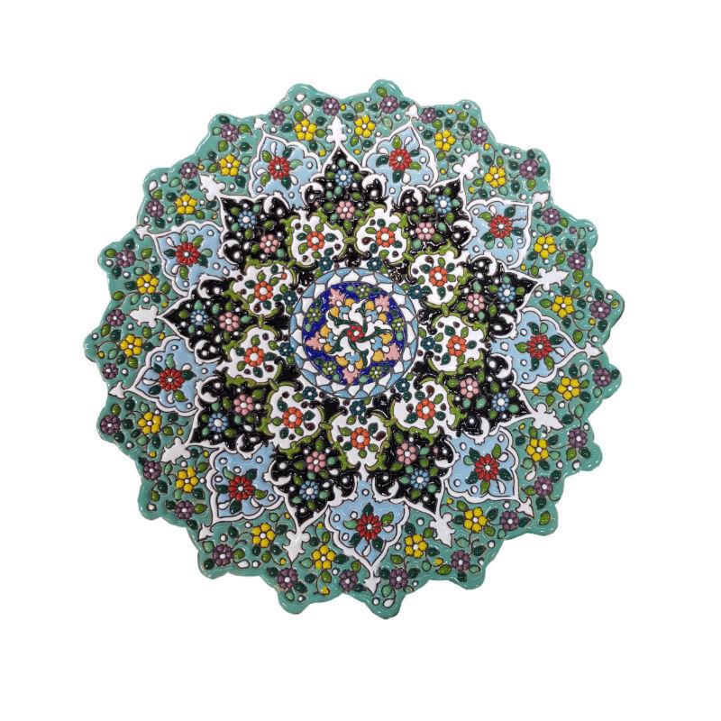 تصویر از گلاب پاش و بشقاب میناکاری گروه هنری وفا