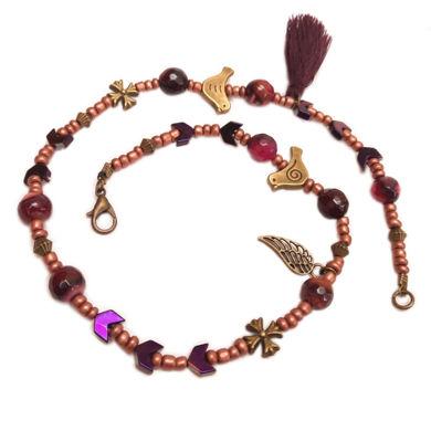 دستبند طرح پرنده و گل