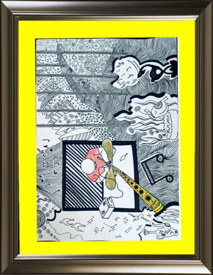 تصویر از تابلو نقاشی دودلینگ (doodling) - نام اثر: سوخته نگاری روی نی