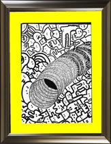 تصویر از تابلو نقاشی دودلینگ (doodling)- نام اثر: تونل جادویی